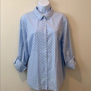 Charter Club Roll-Tan Button Down Relaxed Fit Top